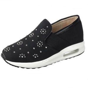 Shoes - Slip On Embellished Sneakers in Black